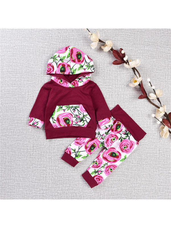 【12M-3Y】Girls Hooded Print Stitching Sweatershirt And Trousers Two-piece Suit