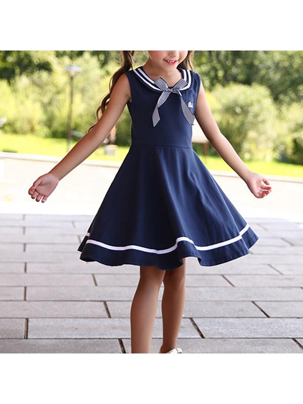 【3Y-13Y】Girl College Style Vest Dress