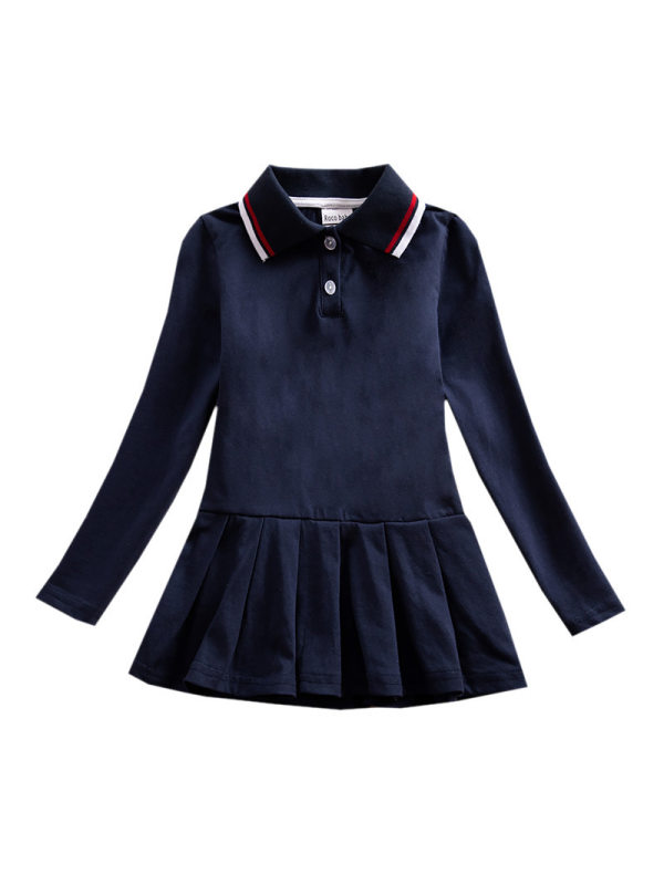 【18M-9Y】Girls Long Sleeve Pleated Polo Skirt
