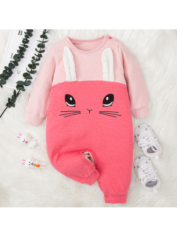 【3M-18M】Baby Cute Cartoon Bunny Print Pink Romper