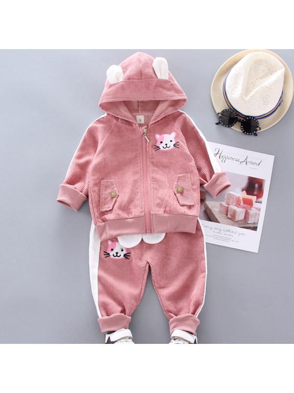 【12M-4Y】Girls Sweet Cat Embroidered Corduroy Hooded Jacket Pants Set