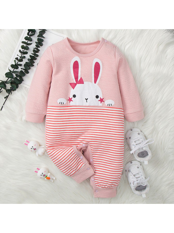 【3M-18M】Baby Cute Bunny Print Pink Long Sleeved Romper