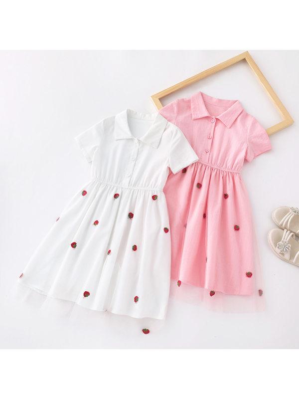 【2Y-13Y】Girls Net Yarn Stitching Short-sleeved Polo Dress