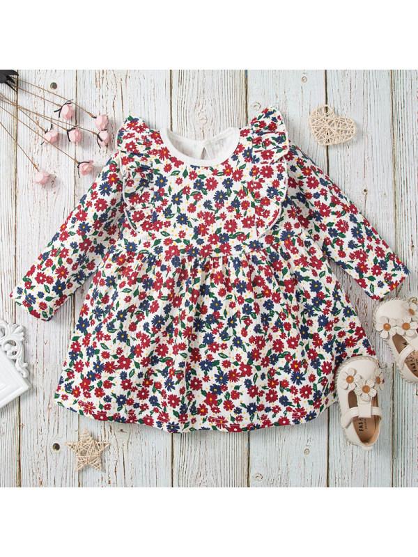 【12M-5Y】Girls Cute Little Flower Long Sleeve Dress
