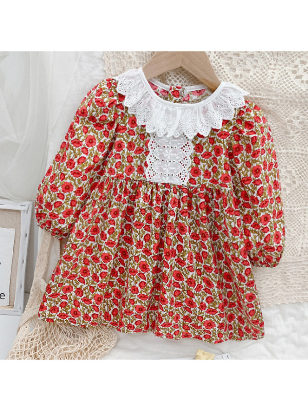 【18M-9Y】Girls Sweet White Lace Collar Red Flower Dress