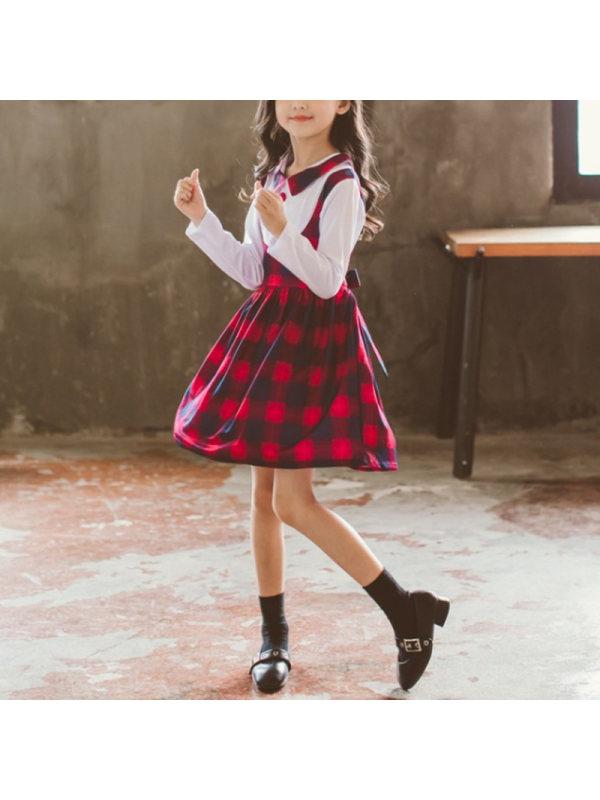 【3Y-13Y】Girl Plaid Fake Two-piece Dress