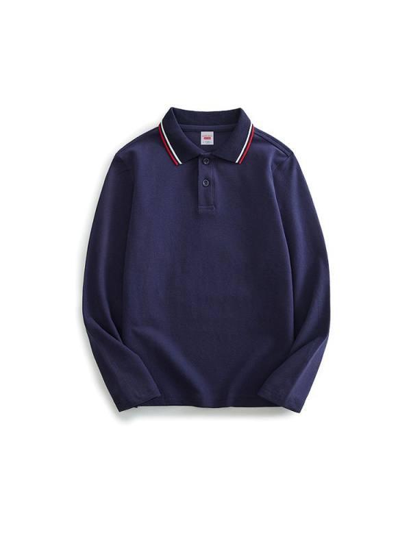【2Y-13Y】Boys Solid Color Polo Neck Long Sleeve T-shirt