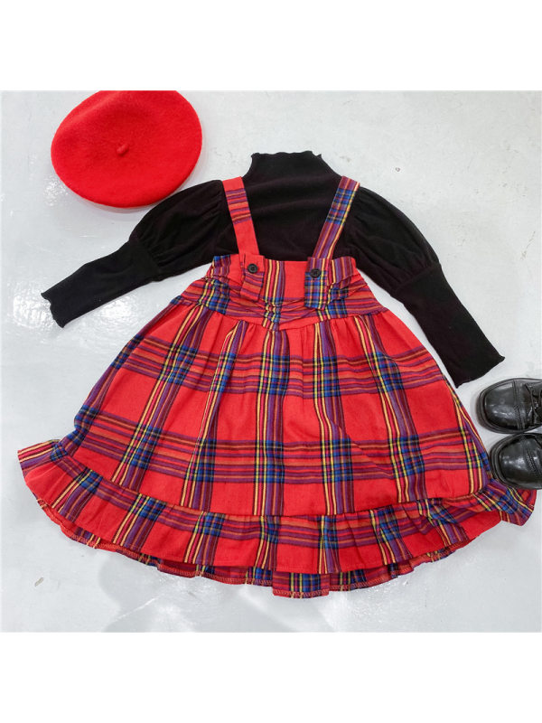 【12M-7Y】Girls Checkered Strap Skirt Long Sleeve Top Two Piece Set