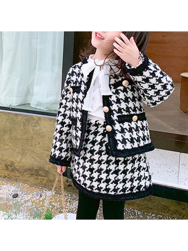 【2Y-9Y】Girls Plaid Long-sleeved Two-piece Suit