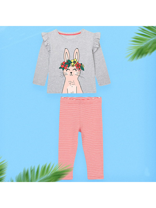 【18M-7Y】Girls Cartoon Print Long-sleeved Knitted Two-piece Suit