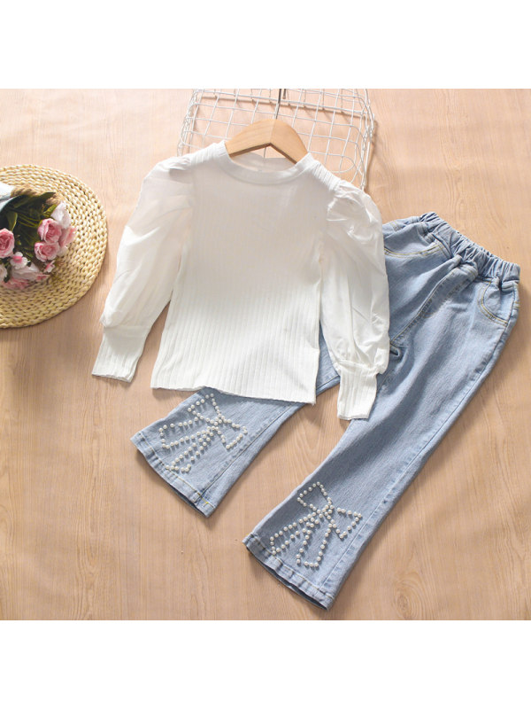 【3Y-13Y】Girl Round Neck Puff Sleeve Top With Pearl Flared Jeans Two-piece Suit