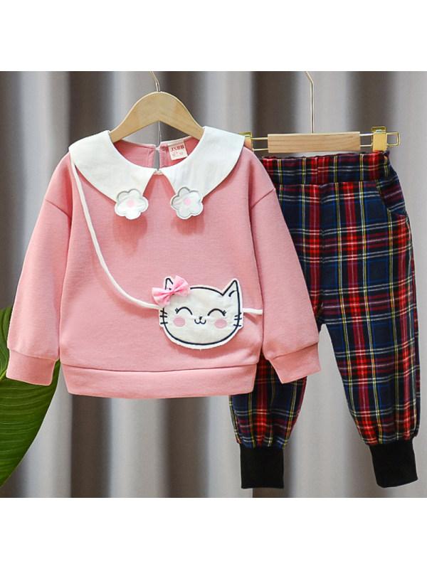 【12M-4Y】Girls Sweet Cat Embroidered Sweatshirt Plaid Pants Set