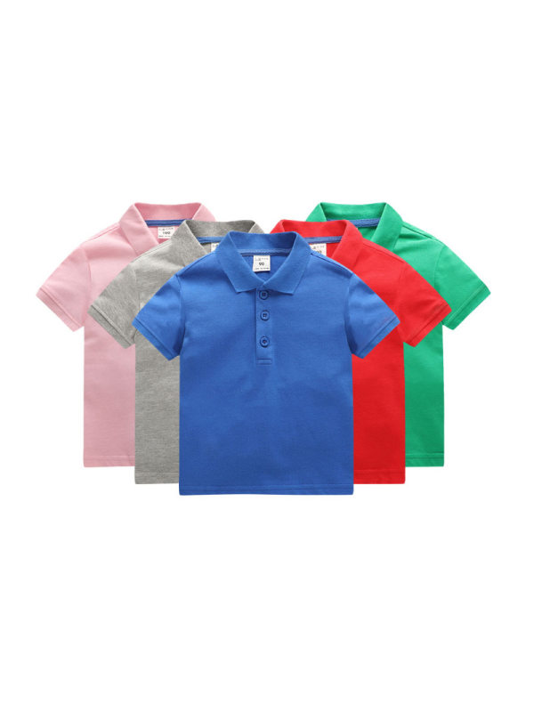 【18M-11Y】Boys Solid Color Short-sleeved Polo Shirt