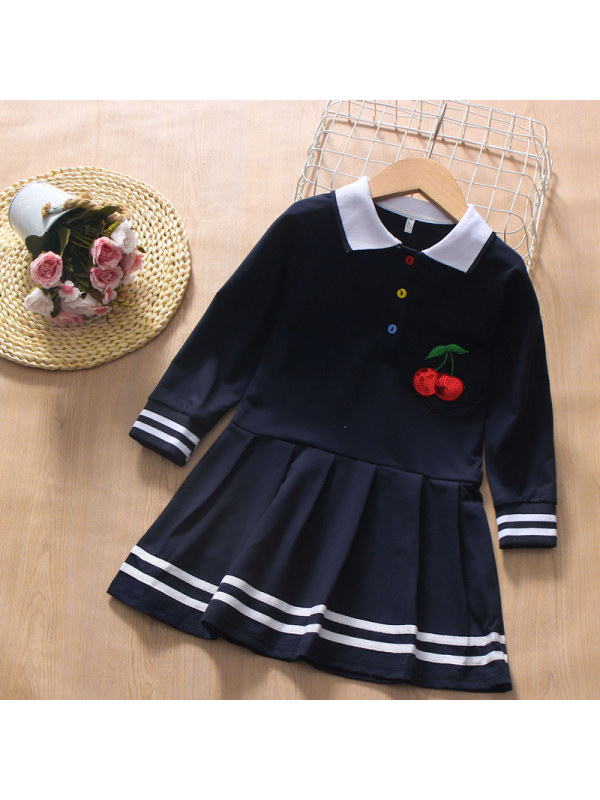 【3Y-13Y】Girl College Style Lapel Cherry Long-sleeved Dress