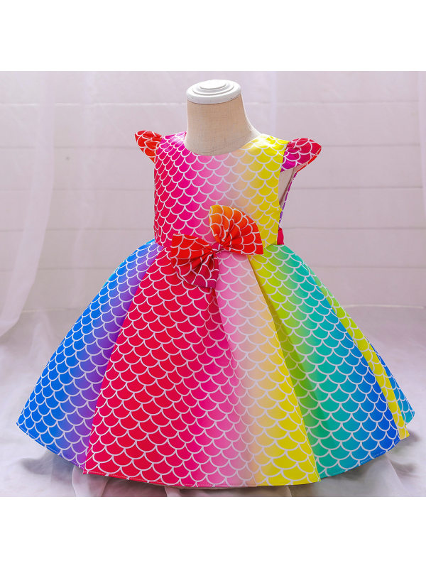 【6M-5Y】Girl Flying Sleeve Colorful Princess Dress