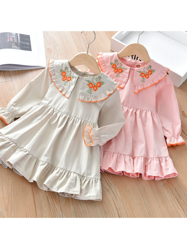 【18M-7Y】Girls Sweet Flower Embroidered Long Sleeve Dress