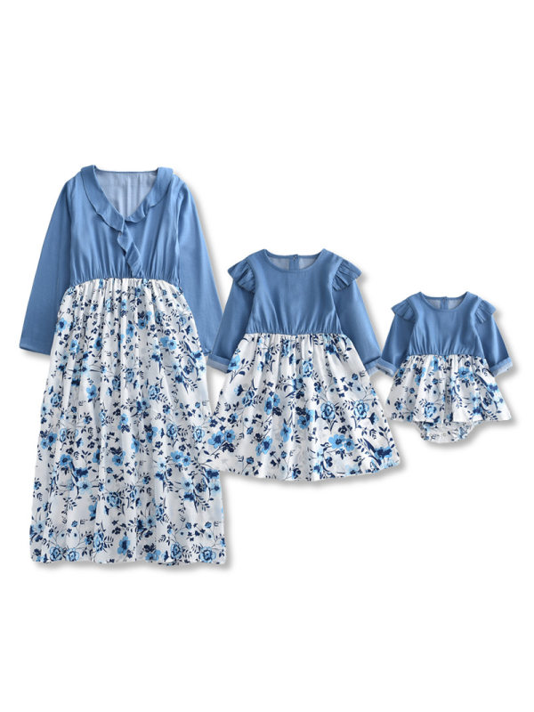 Floral Style Long-sleeved Mom Girl Matching Dress