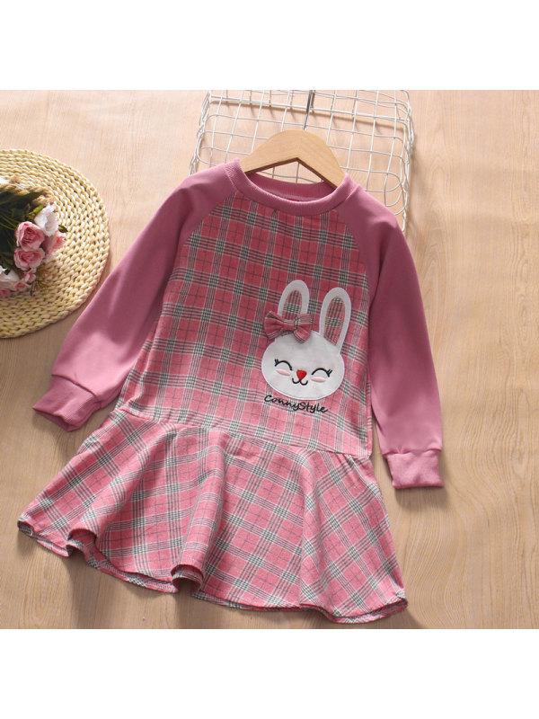 【3Y-13Y】Girl Round Neck Bunny Embroidery Stitching Plaid Dress
