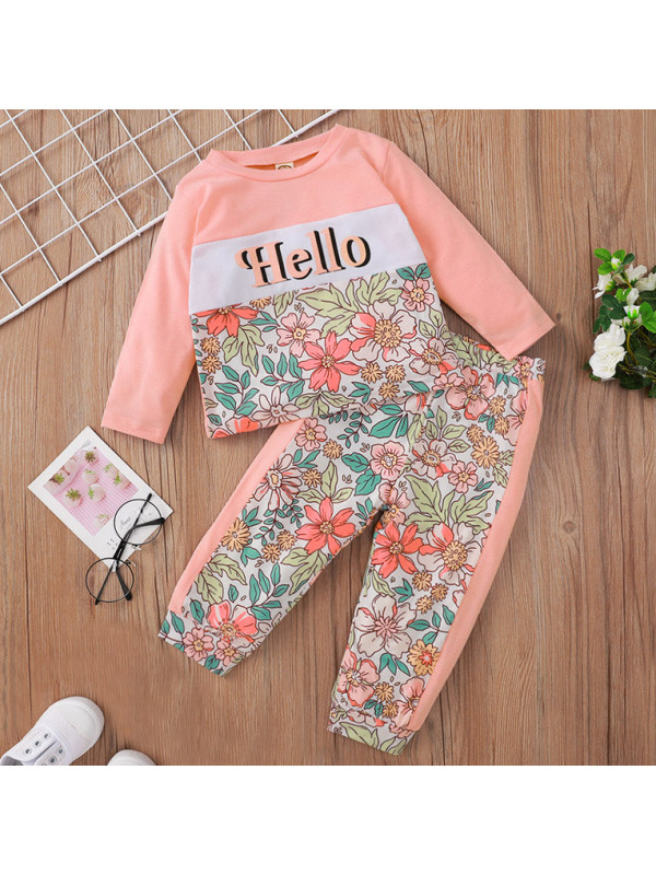 【6M-24M】Girls Pink Flower Print Long-sleeved Two-piece Suit