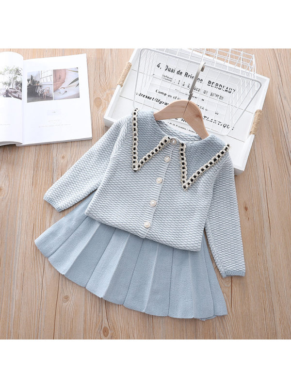 【18M-9Y】Girls Baby Collar Cardigan Pleated Skirt Sweater Two-piece Suit