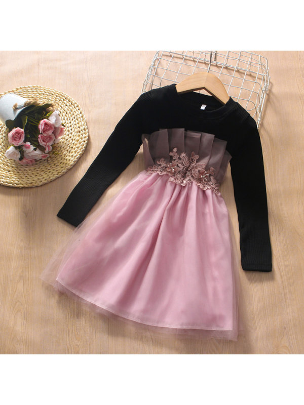 【3Y-13Y】Girl Round Neck Stitching Mesh Flower Long-sleeved Dress
