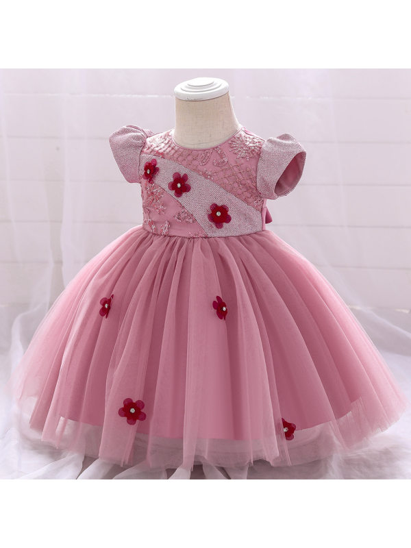 【12M-5Y】Girls Embroidered Applique Puffy Dress Princess Dress