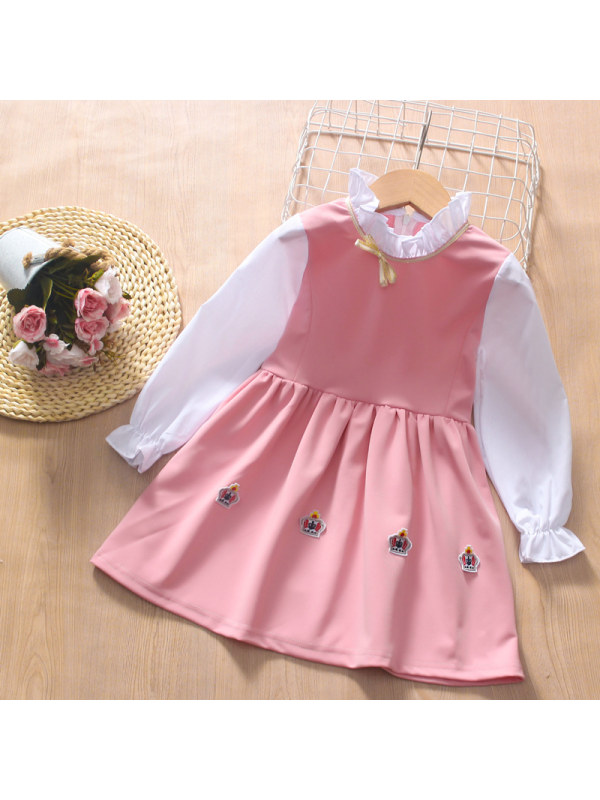【3Y-13Y】Girl College Style Long-sleeved Dress With Stand-up Collar And Bow