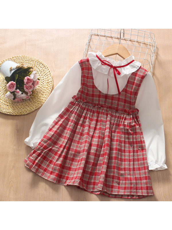 【3Y-13Y】Girls College Style Stitching Plaid Long-sleeved Dress