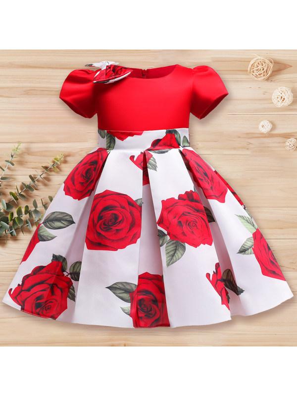 【2Y-10Y】Girl Sweet Rose Flower Print Dress