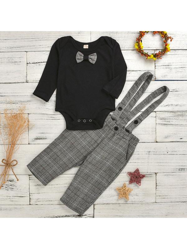 【6M-3Y】Boys Casual Black Long-sleeved Romper And Plaid Pants Set