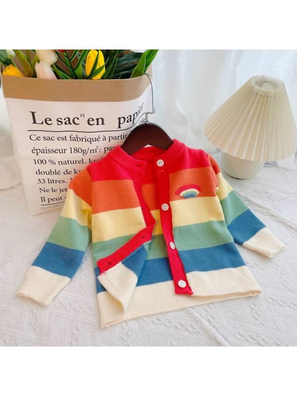 【12M-7Y】Girls Rainbow Stripe Round Neck Woolen Cardigan