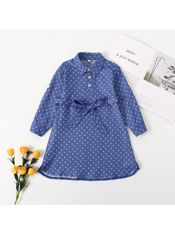 【18M-7Y】Girls Lapel Long Skirt Polka Dot Print Dress