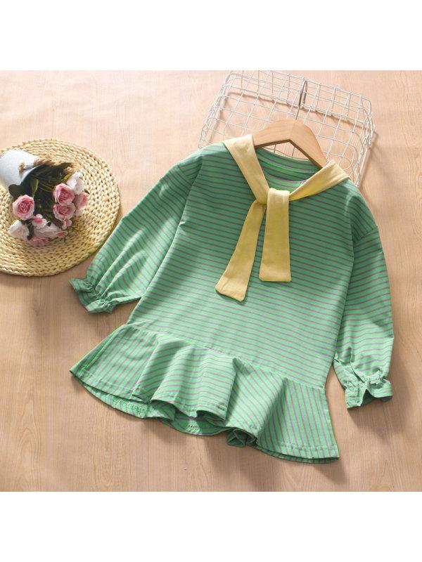 【3Y-13Y】Girl Round Neck Shawl Striped Long Sleeve Dress