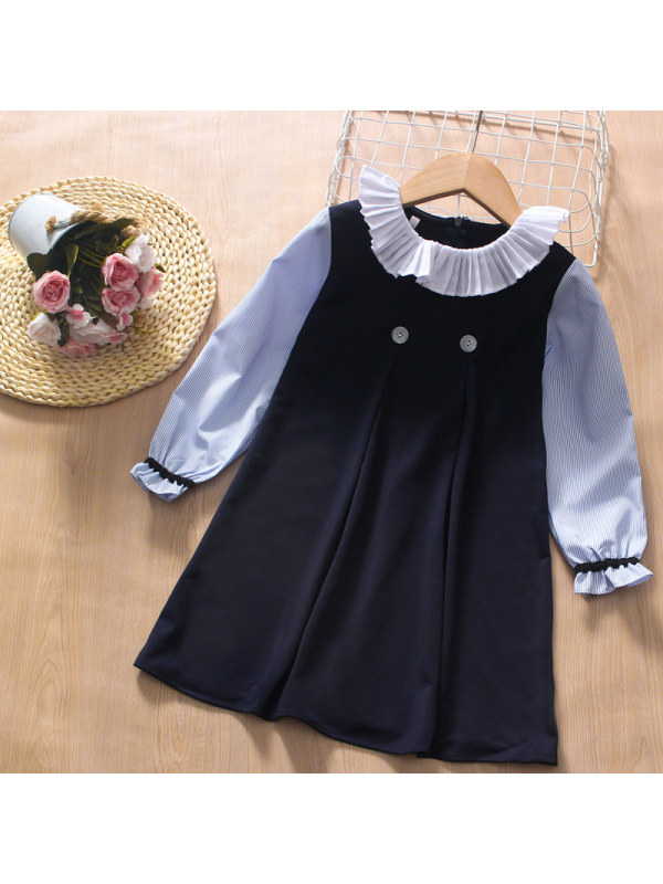 【3Y-13Y】Girl College Style Pleated Collar Long-sleeved Dress
