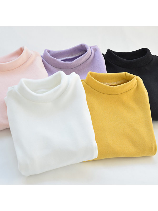 【18M-9Y】Girls Stand-up Collar Solid Color Bottoming Shirt