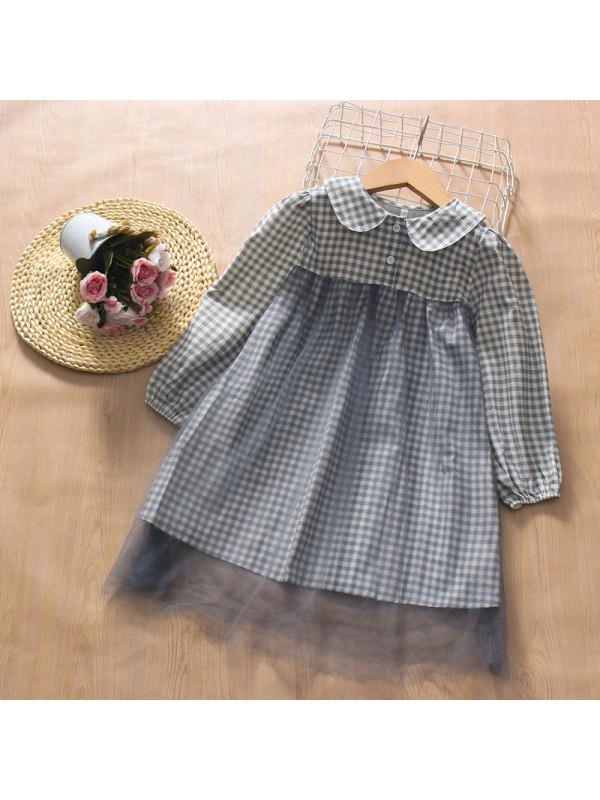 【3Y-13Y】Girl Doll Collar Stitching Mesh Long-sleeved Dress