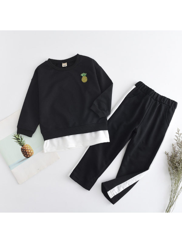 【18M-7Y】Boys Embroidered Long-sleeved Top And Trousers Casual Suit