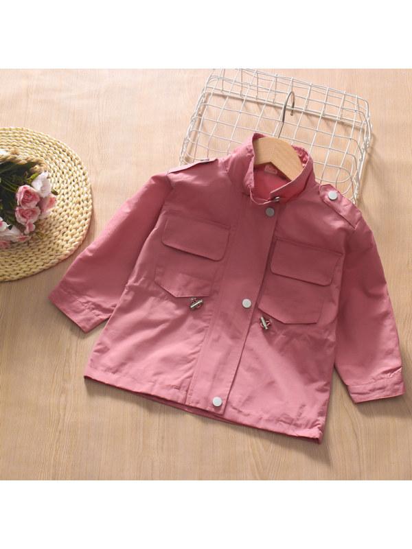 【12M-7Y】Girls Lapel Collar Waist Long Sleeve Windbreaker Jacket