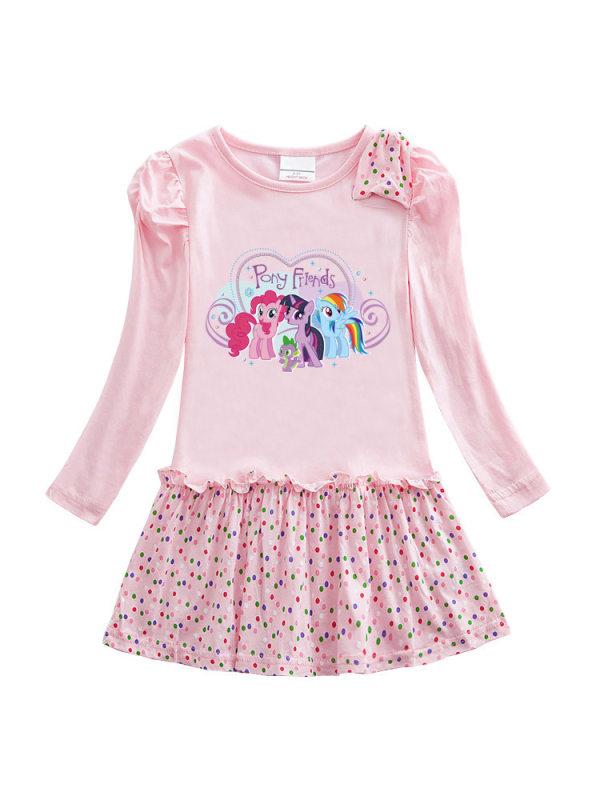 【18M-9Y】Girls Cartoon Print Polka Dot Pleated Dress