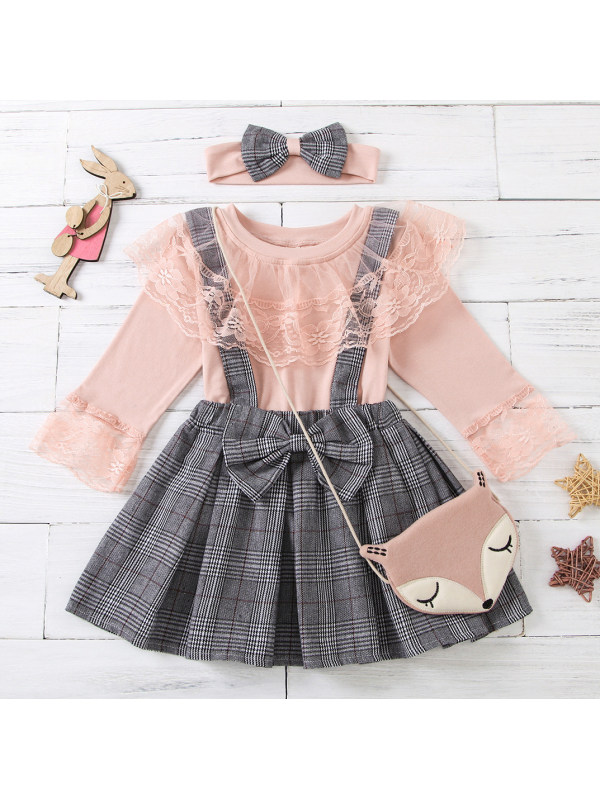 【18M-7Y】Girl Pink Lace Collar T-shirt And Plaid Skirt Set
