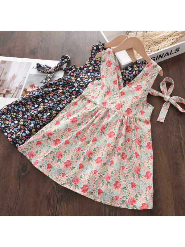 【18M-9Y】Girls Floral Print Sling Bow Dress
