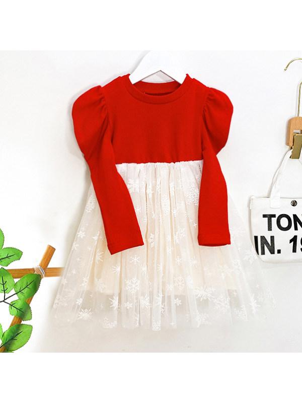 【18M-7Y】Girls Sweet Puff Sleeve Mesh Dress