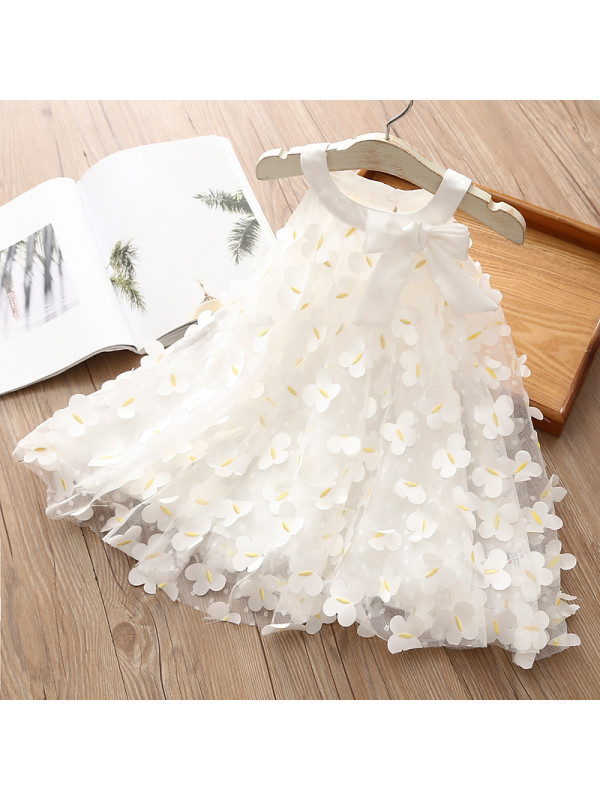 【18M-9Y】Girls Butterfly Sleeveless Bowknot Vest Mesh Dress