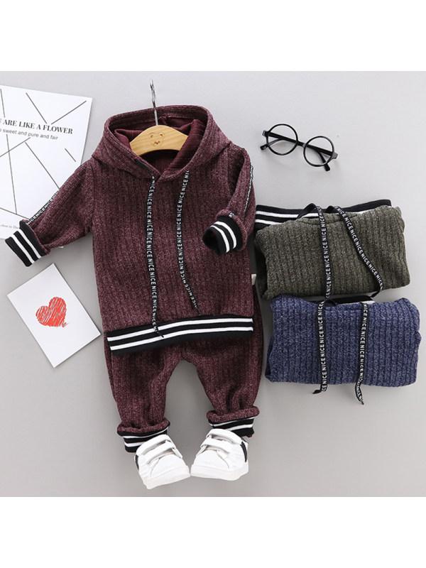 【12M-5Y】Boys Fashion Woolen Hooded Sweatshirt Pants Set