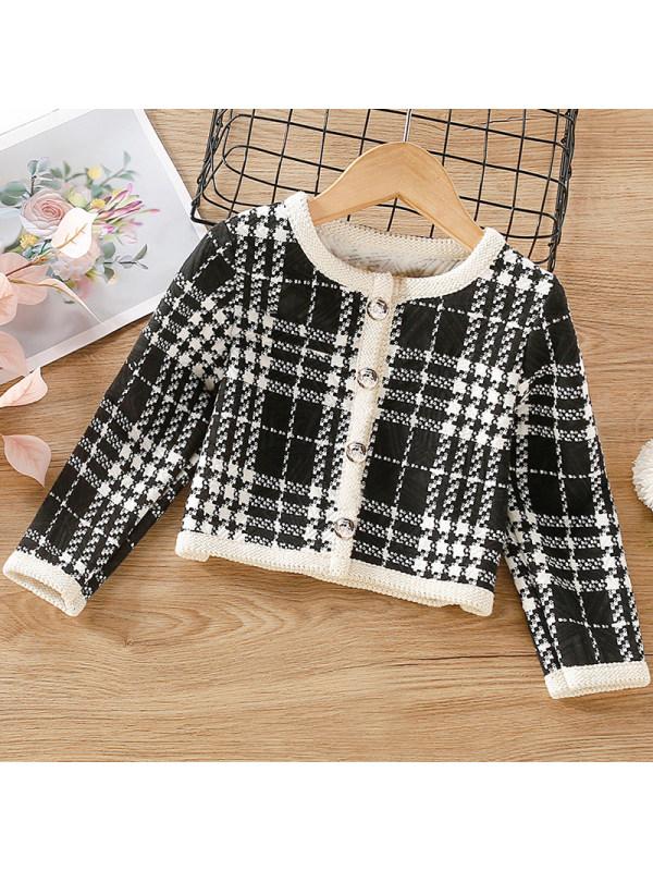 【18M-7Y】Girl Sweet Black Plaid Short Coat