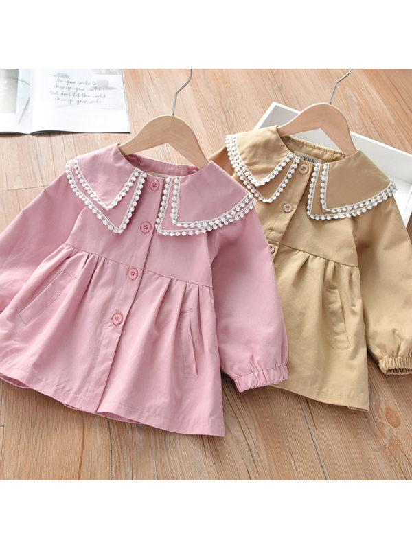 【18M-7Y】Girls Sweet Lapel Long Sleeve Outwear