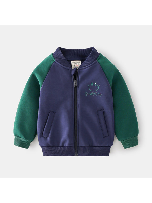 【18M-7Y】Boys Contrast Stitching Baseball Jacket