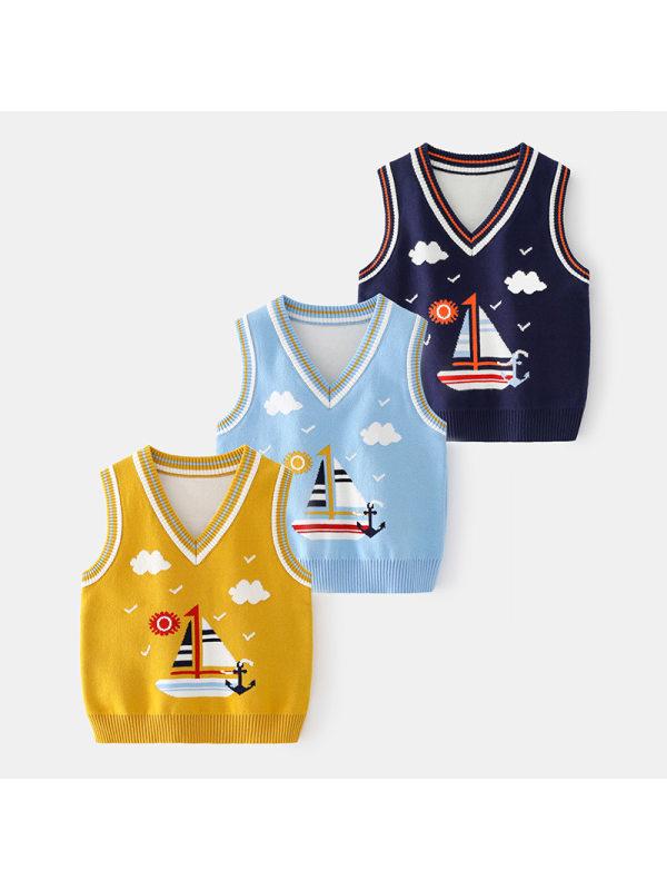 【18M-7Y】Boys Pin-up Print Vest