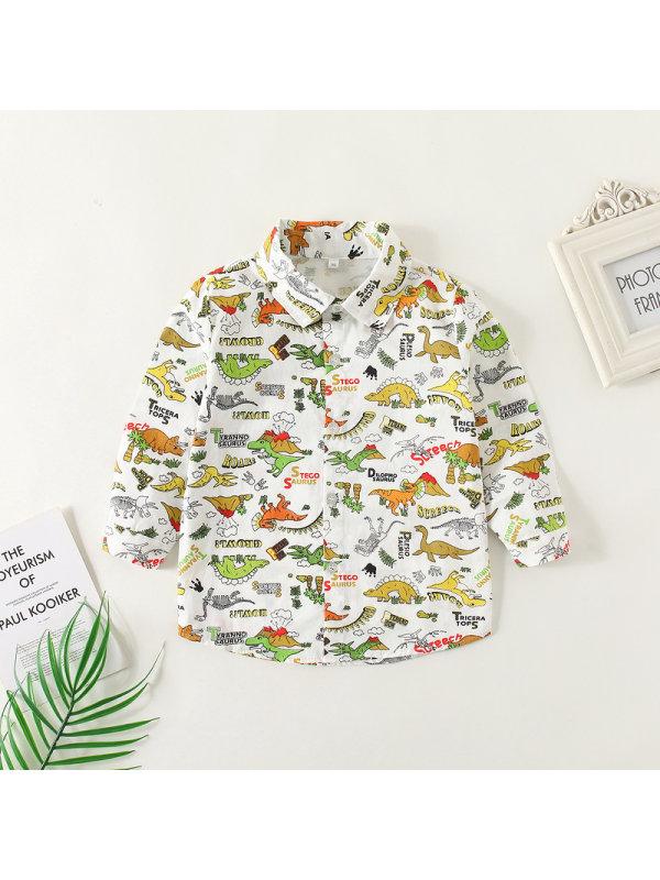 【12M-5Y】Boys Dinosaur Print Long Sleeve Shirt