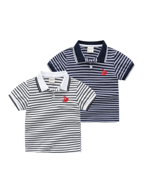 【18M-7Y】Boys Striped Short-sleeved Polo Shirt